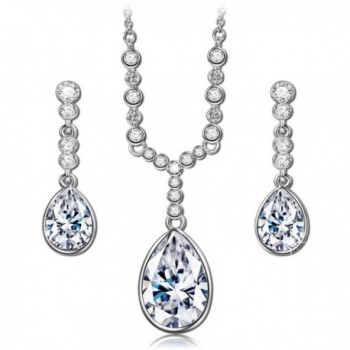 "QIANSE ""Angle Tear"" Necklace and Earrings Jewelry Set Made with Swarovski Crystals - Elegant and Charming! - CO1289ZGEOP"
