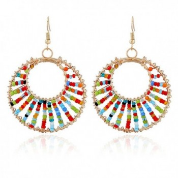 RareLove Bohemian Fashion Circle Beaded Chandelier Earrings Colorful - Colorful - CB184SHQUWT
