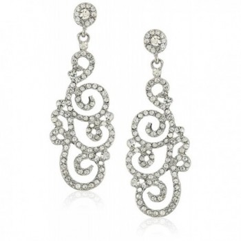 Bridal Wedding Crystal Rhinestone Swirl Vintage Dangle Earrings Silver Clear - CK11DIZZJCP