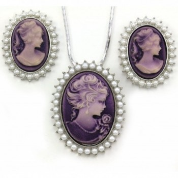 Lavender Purple Cameo Jewelry Set Necklace Pendant Stud Post Earrings Faux Pearl - CJ1101EYX7N