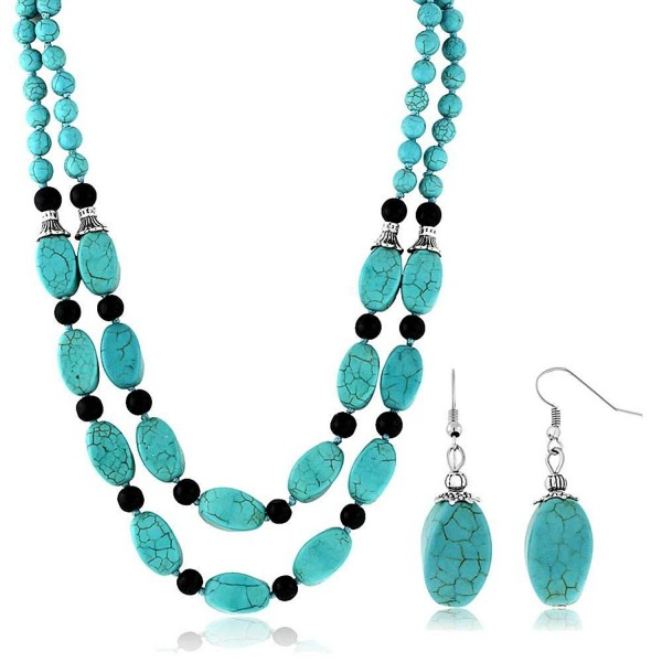 "18"" Stunning Beads Simulated Turquoise Howlite Double Necklace and Earrings Set - C411GK9ZFF7"