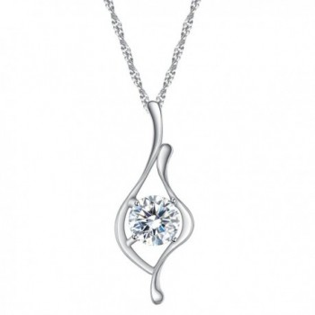 BriLove Women 925 Sterling Silver Cubic Zirconia Elegant Ribbon Round Solitaire Pendant Necklace Clear - CE185SD6D8I