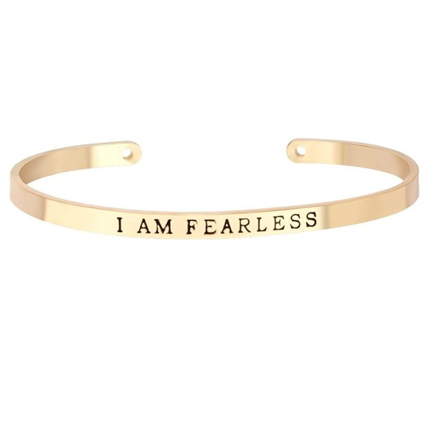 """MANZHEN Open Cuff Bangle with Words """"I AM FEARLESS"""" Inscription Bangle Bracelet for Women - Gold - CM12KVCACEL"""