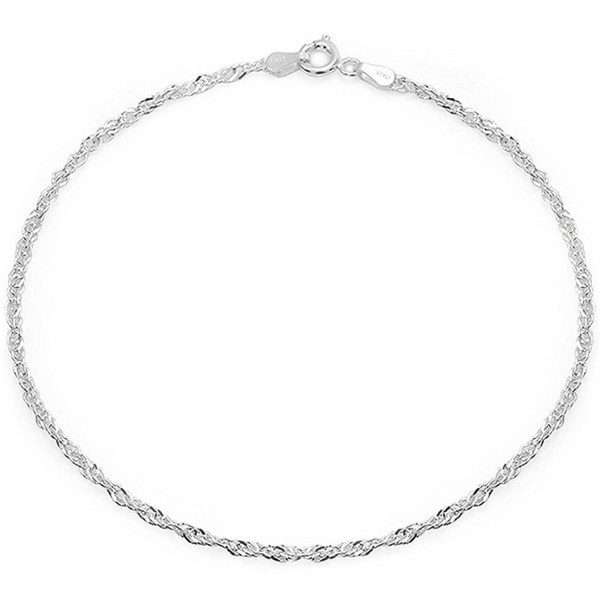 Bling Jewelry Sterling Silver Anklet Singapore Chain Ankle Bracelet Italy - CT12LV0EQ0J