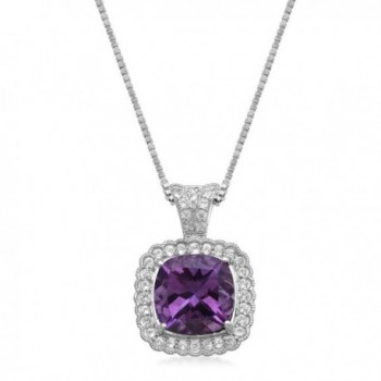 "Jewelili Sterling Silver Cushion Amethyst with White Topaz- Pendant Necklace- 18"" - CC1855EATGW"