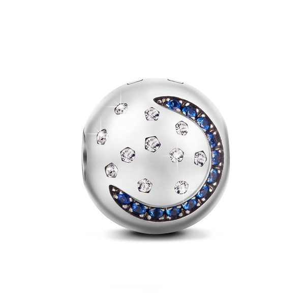 """NinaQueen """"Starry Sky"""" 925 Sterling Silver Moon and Star Stopper Clip Charm - C711Y257IZB"""