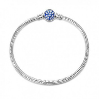 NinaQueen 925 Sterling Silver Snake Chain Bracelet with Blue Clasp Charms-Endearing Gifts For Her - C011ZD5A963