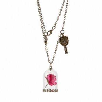 Beauty and the Beast Rose Necklace for Girls Glass Vial Necklace Jewelry Festival Gifts by WOFO - Rose Red - CK17YCHSK65