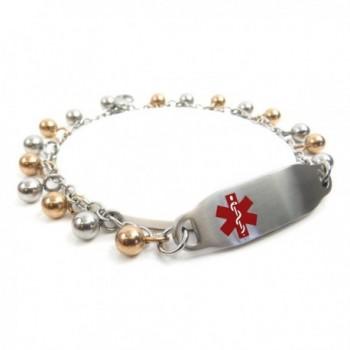 MyIDDr - Pre-Engraved & Customized Ladies Ladies Diabetic ID Bracelet- Steel Raindrop - C211HUM2Y2Z