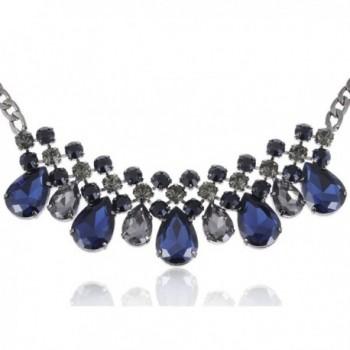Alilang Black Tone Blue Faux Diamond Bead Transparent Rhinestone Collar Necklace - C311SD6POCT