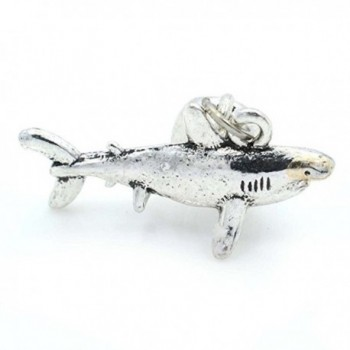 Pro Jewelry Great White Shark Dangling Bead Compatible with European Snake Chain Bracelets - CE12OBZOZH7