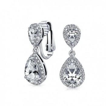 46129e17c Bling Jewelry CZ Double Teardrop Clip On Bridal Earrings Rhodium Plated  Brass - CK11CG1HAKP