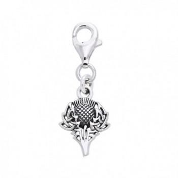 Scottish Spirit of Alba Thistle Celtic Knot Art Sterling Silver Clip-On Charm - CL114AMEK15
