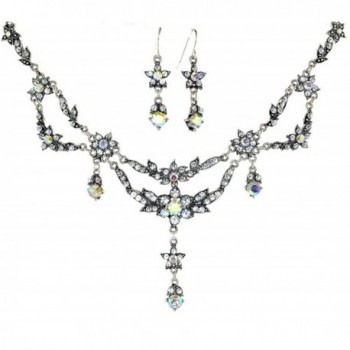 Exquisite Floral Simulated Rhinestone Necklace and Earring Set - AB-Clear - CV119A84WGR