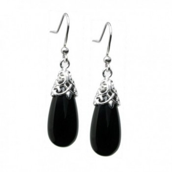 Dreambell 925 Sterling Silver Black Natural Onyx Teardrop Charm Dangle French Hook Earwire Earrings - CJ11NWVNEF9