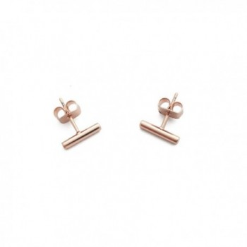 HONEYCAT Rounded Bar Stud Earrings in Gold- Rose Gold- or Silver | Minimalist- Delicate Jewelry - Rose Gold - C512F5S6GTH