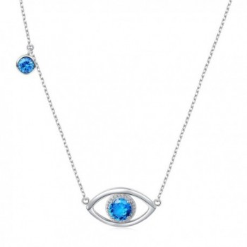 "Eye Necklace 925 Sterling Silver Blue Cubic Zirconia Lucky Hamsa Evil Eye Charm Necklace Gift For Women- 18"" - C11884NL0NS"