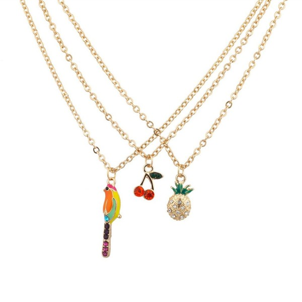 Lux Accessories Parrot Pineapple Cherry Fruit Cocktail Jungle Paradise Tropical Multiple Necklace Set - CZ125UXVLC9