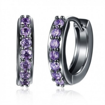Huggie Round Small CZ Hoop Earrings Amethyst Cubic Zirconia Black Plated For Women Girls - CR1895X3KM0