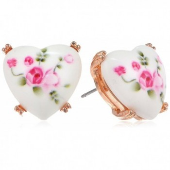"Betsey Johnson ""Vintage Bows"" Floral Printed Heart Stud Earrings - CC11GMNW847"