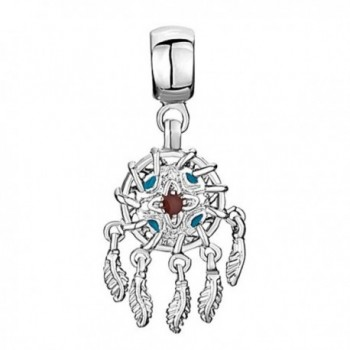 Q&Locket Dream Catcher Charms Dangle Feather Charm Beads For Bracelets - C4188H33TLL