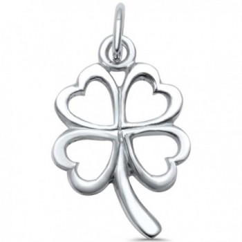 Sterling Silver Plain Solid Four Leaf Clover Good Luck Charm Pendant - CC1859025XQ