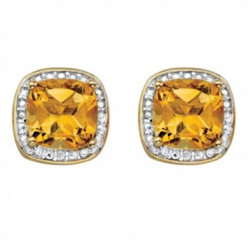 Genuine Yellow Citrine and Diamond Accent 14k Gold-Plated .925 Silver Halo Stud Earrings - CZ1834C8MZ8