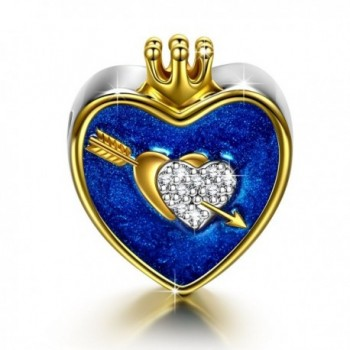 "NinaQueen ""The Arrow Of Love"" 925 Sterling Silver Heart Crown ""I Love You"" Navy Bead Charms - CN182DOZN4A"