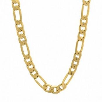 6mm 14k Gold Plated Beveled Figaro Link Chain + Microfiber Jewelry Polishing Cloth - C411DK4X07Z