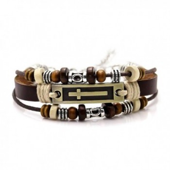 Xusamss Hip Hop Alloy Cross Tag Bangle Wood Bead Pu Leather Link Bracelet-7-9inches - Brown - CG183Y2ZYR7