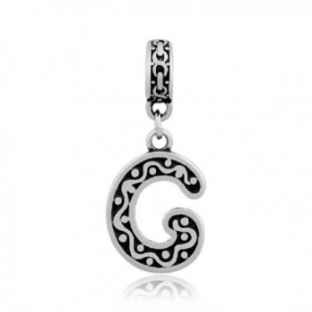 GemStorm Stainless Steel Dangling Alphabet Letter A-Z Charm Bead For European Snake Chain Bracelets - G - CT17XHR343C