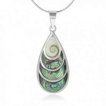 """925 Sterling Silver Beautiful Shiva Eye and Abalone Shell Inlay Teardrop Pendant Necklace- 18"""" - CQ12BT357ZB"""