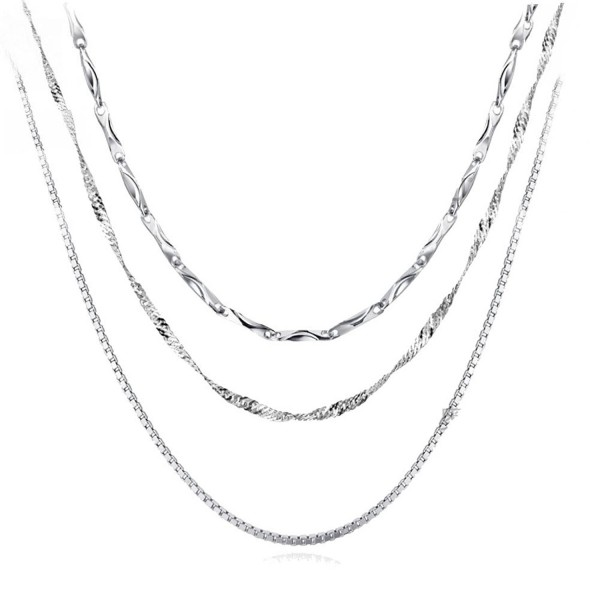 Sterling Silver Chain Necklace Necklaces for Women Platinum Plated 18'' Chains 3PCS - CN17XXQMECR