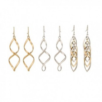 Lureme Punk Gold and Silver Tone Twisted Spiral Zinc Alloy Earrings Set 3 Pairs (02004774) - CB129J3VDM9