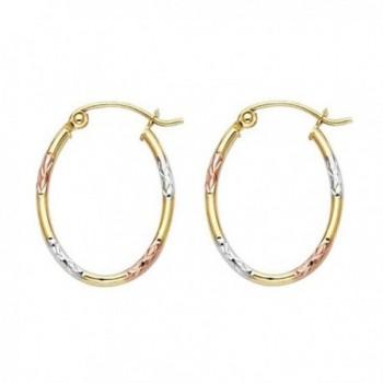 Women's 14k Tricolor Gold 1.5mm Wide Diamond Cut Tube Hoop Earrings (0.78 in x 0.59 in) - CJ12IIVNNIZ