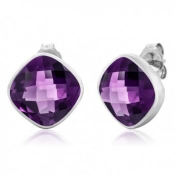12.00 Ct 925 Sterling Silver Stunning Amethyst Gemstone Birthstone Cushion Stud Earrings For Women - CH11NR9JWVB