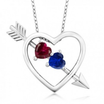 1.21 Ct Created Ruby and Simulated Sapphire Silver Heart and Arrow Pendant with 18 Inch Silver Chain - CG128NXQNA7