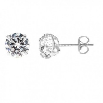 14k Solid White Gold 5mm Cubic Zirconia Stud Earrings 1ct Basket Setting - CD119CUHL49