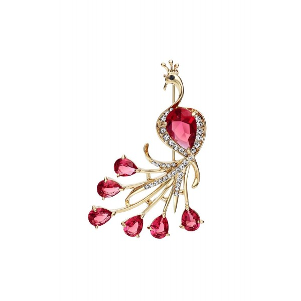 Ananth Jewels Swarovski Elements Peacock Shaped Brooch for Coat Hijab Saree Pin for Women Jewelry -