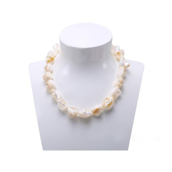 "JYX 14x17mm Natural Irregular Shell Necklace Strand 19"" - White - C917YGG8XW3"