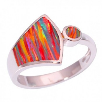 CiNily Rhodium Plated Orange Fire Opal Women Jewelry Gemstone Ring Size 6-10 - C217YGWO8KS