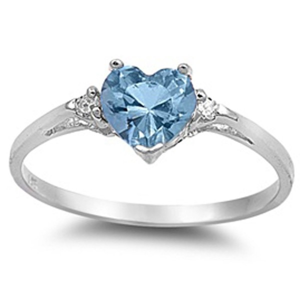 Simulated Aquamarine Heart White Zirconia - Simulated Aquamarine - CR11COWT68L