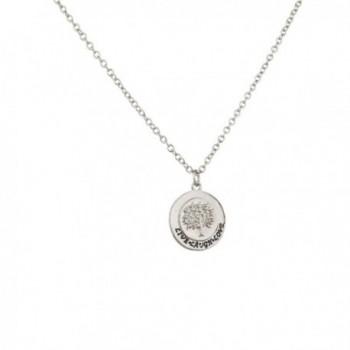Lux Accessories Live Laugh Love Tree of Life Cirlce Pendant Chain Charm Necklace - CQ11PIXC4EL