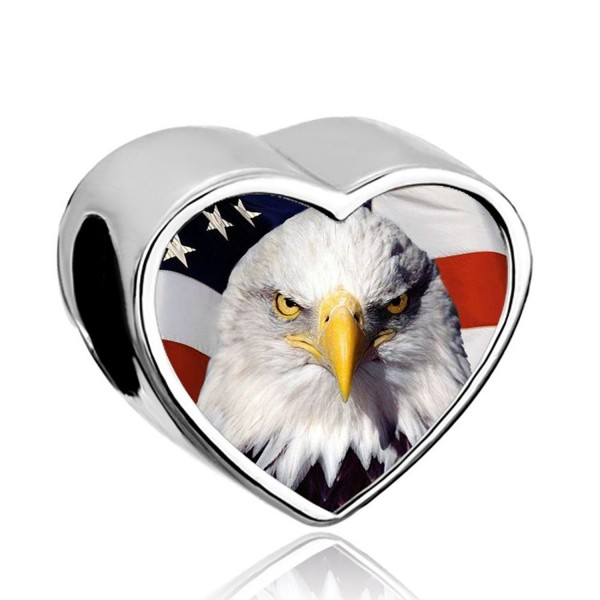 DemiJewelry American Flag Bead Heart Photo Charms fit Charm Bracelet - CV183283Z48