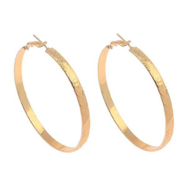Gold Polished Fashion Floral Embossed Flat Band Hoop Earrings (5mm x 60mm) - C312NVEBXM3