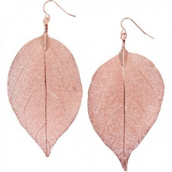 Humble Chic Gold Tone Earrings Lightweight - Rose Gold-Tone Dipped Natural Leaf - CB11W95CIYH