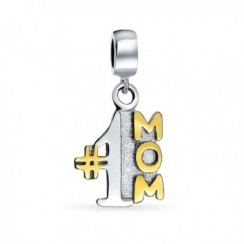 Bling Jewelry Number 1 Mom Dangle Bead Charm .925 Sterling Silver - C211BC3AEO7