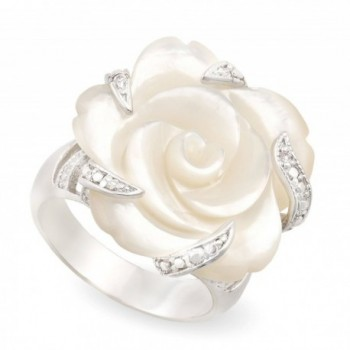 JanKuo Jewelry Rhodium Plated Carved Mother of Pearl Flower with Cubic Zirconia Cocktail Ring - C51158WJ6LL