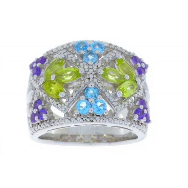 Amethyst Peridot Blue Topaz & Diamond Ring .925 Sterling Silver Rhodium Finish - C3124LSJSND