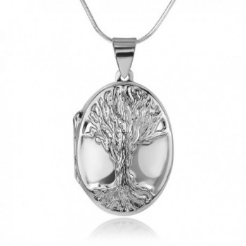 "925 Sterling Silver Engraved Tree of life Ancient Symbol Oval Shaped Locket Pendant Necklace- 18"" - CV185AKZUL5"